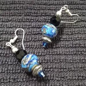 Blue & Black lampwork earrings JTS17
